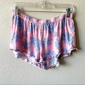 Forever 21 Pink & Blue Floral Ruffle Pajama Shorts
